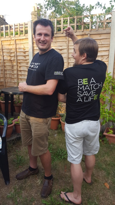 George and Tim in Anthony Nolan t0shirts: be a match, save a life
